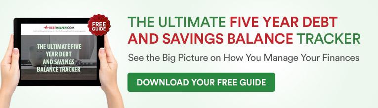 five year debt and savings balance tracker