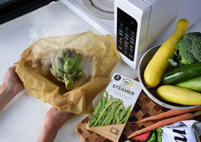 green steamer with veggies