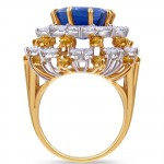 blue yellow silver oval ring profile view