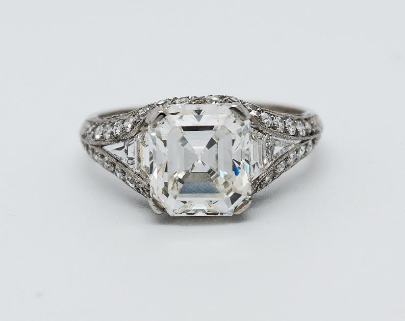 Biddle Fine Art Deco 2.70 Carat Diamond and Platinum Ring