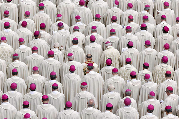 Bishops attend a canonisation mass in St. Peter's Square at the Vatican
