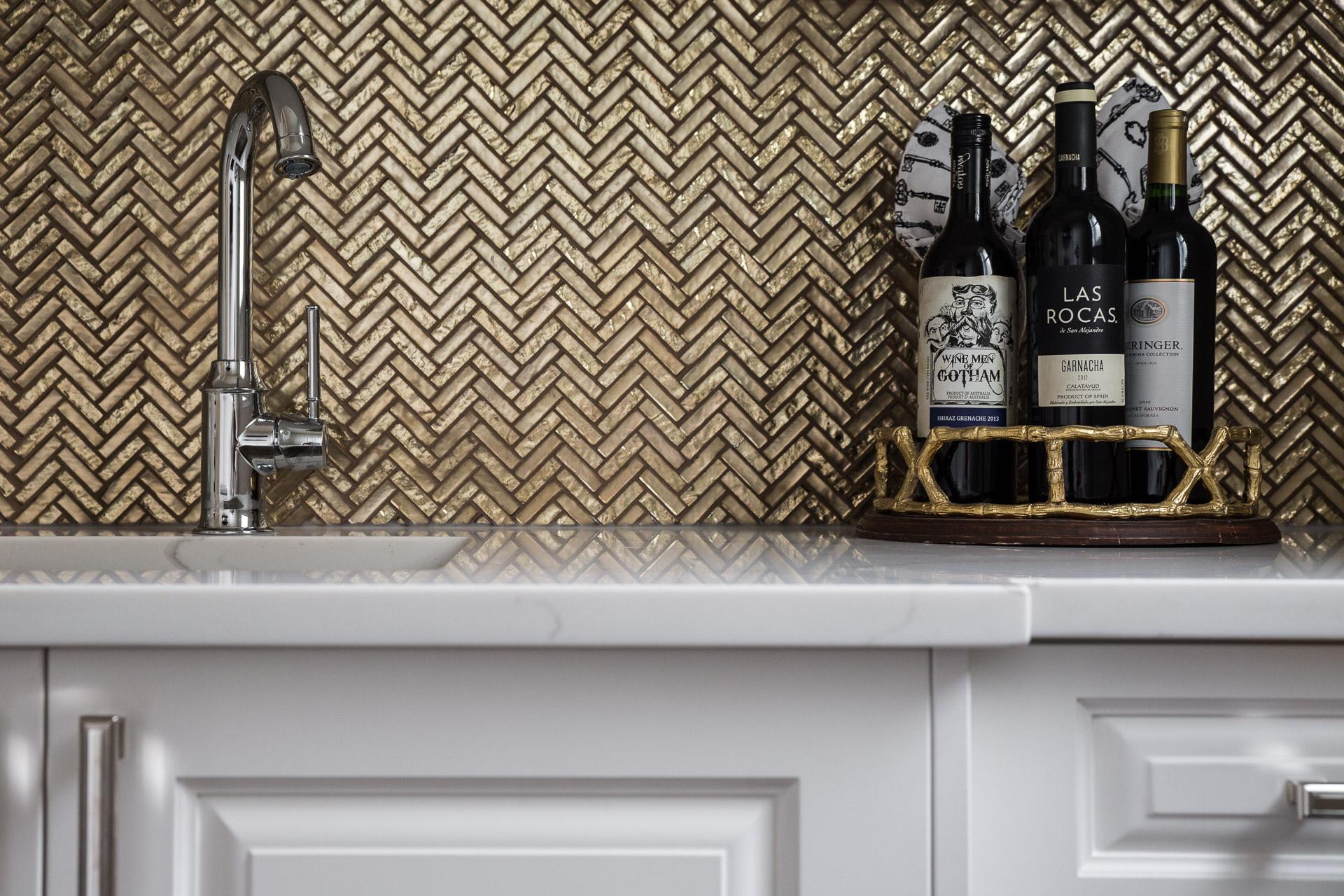 - Gold-backsplash-kitchen-cabinet-detail - Klassen Photography