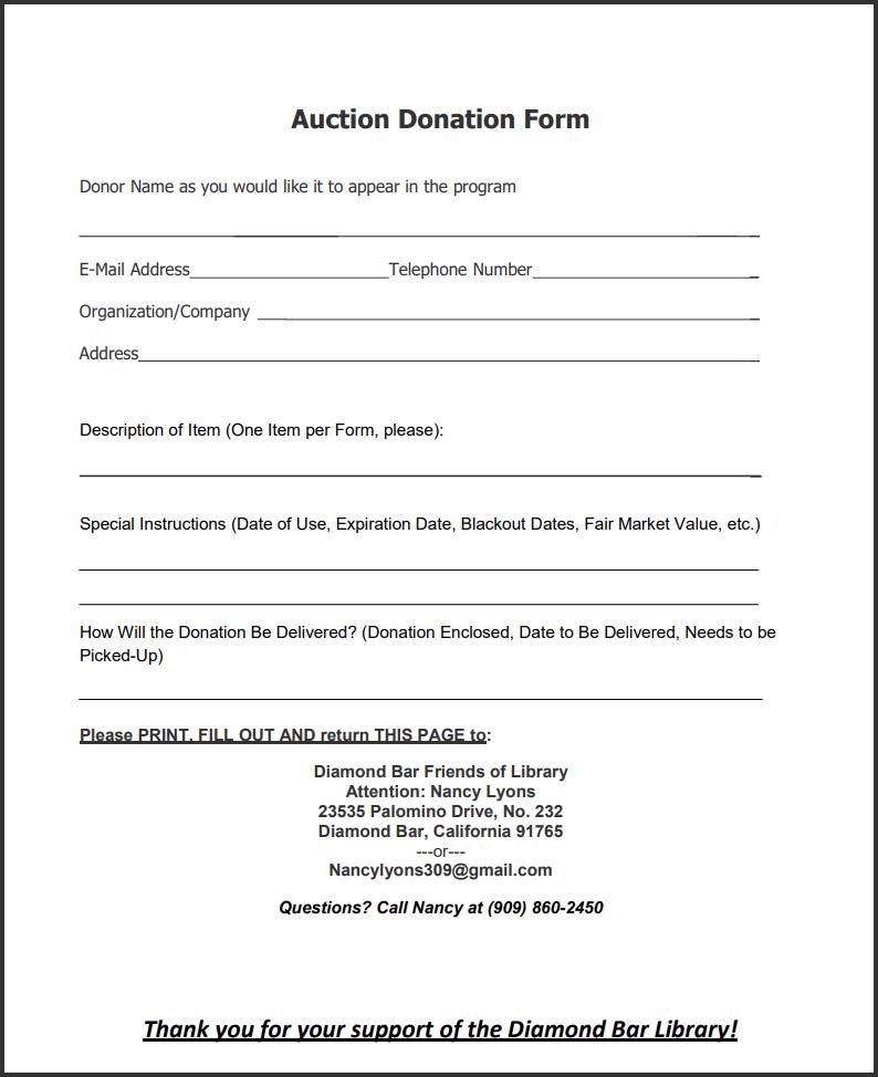 Auction donation form