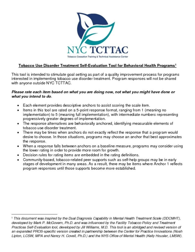 thumbnail of TCTTAC Program Tobacco Self-Evaluation Tool Revised