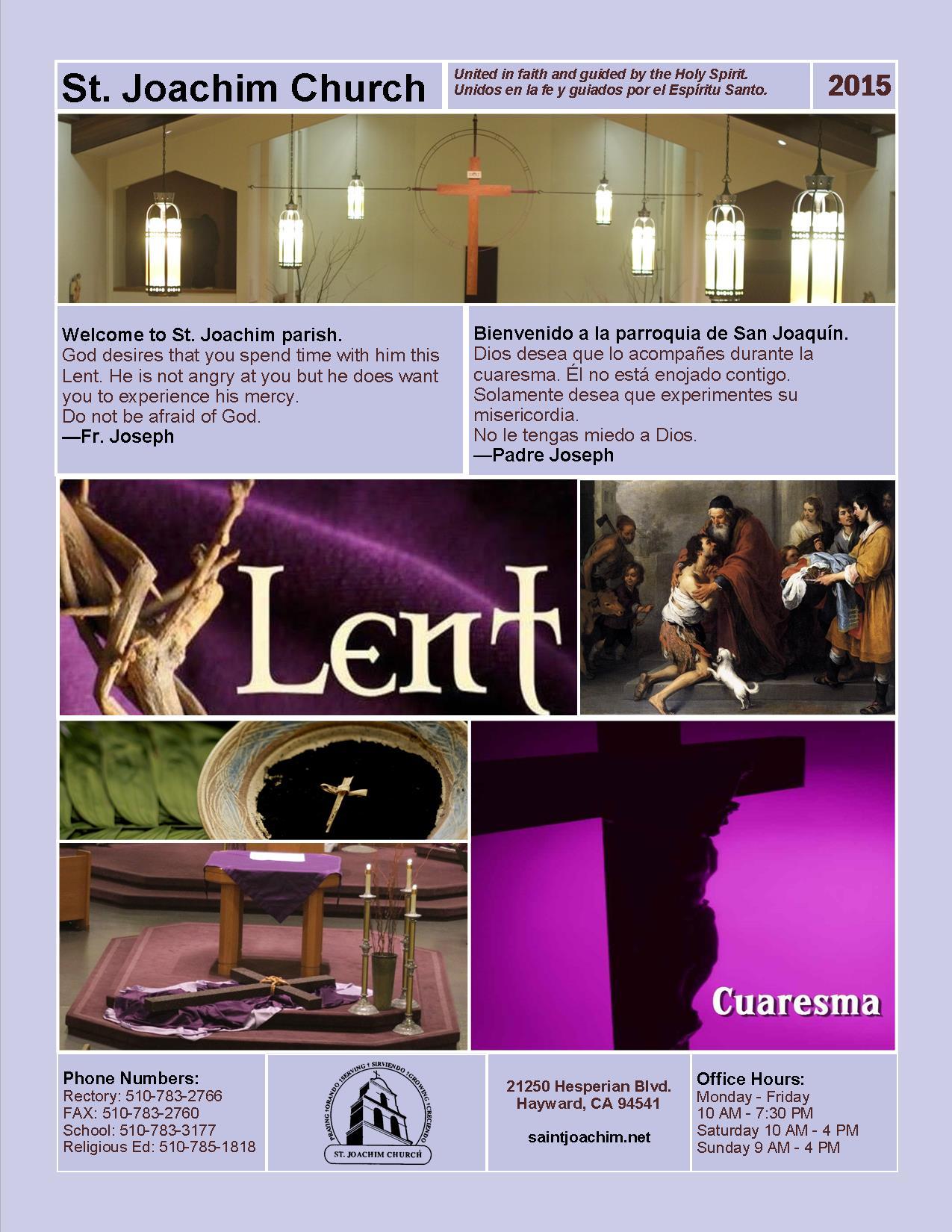 Lent Schedule 2015