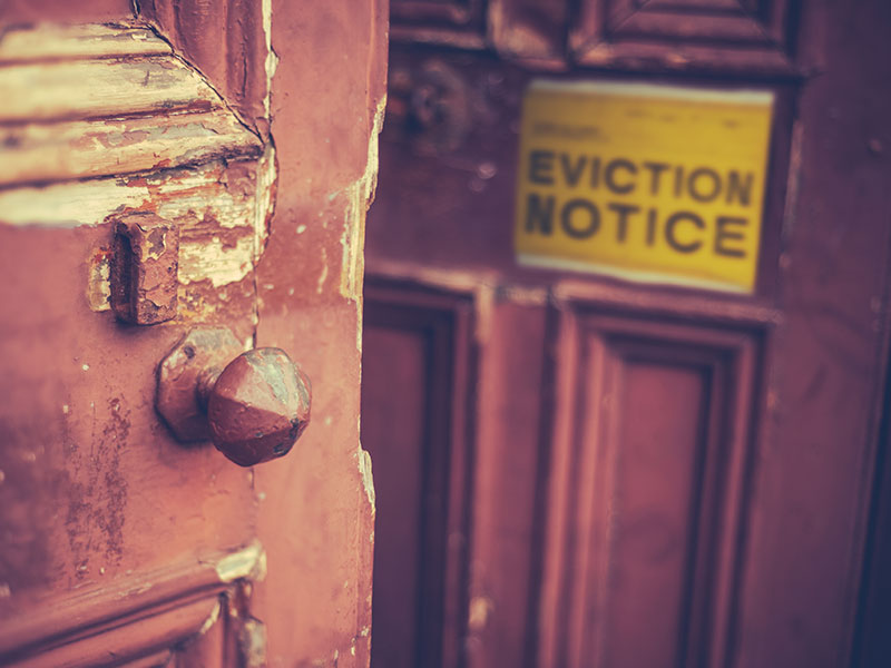 eviction notice on a door to a building