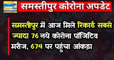 समस्तीपुर में आज मिले रिकार्ड सबसे ज्यादा 76 नये कोरोना पॉजिटिव मरीज, 674 पर पहुंचा आंकड़ा समस्तीपुर Town