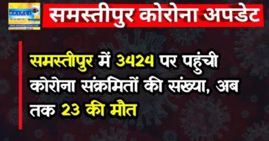 समस्तीपुर में 3424 पर पहुंची कोरोना संक्रमितों की संख्या, अब तक 23 की मौत समस्तीपुर Town