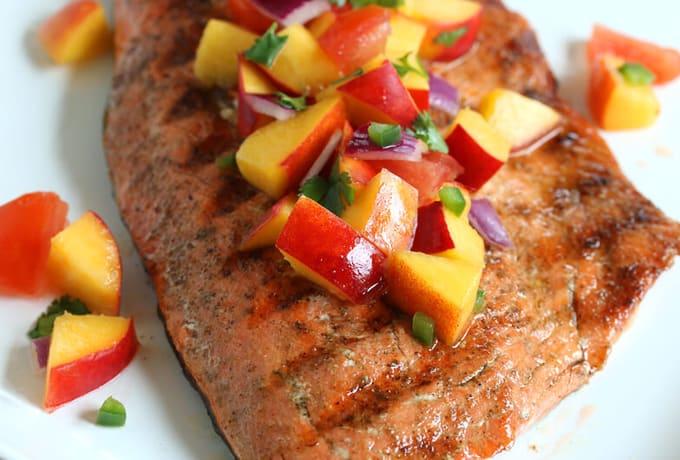 grilled-salmon tomato peach salsa