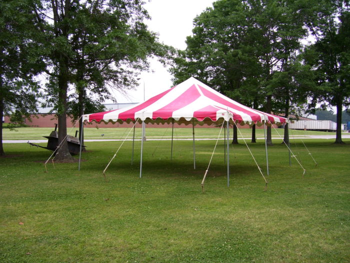 20x20 Red/White Pole Tent
