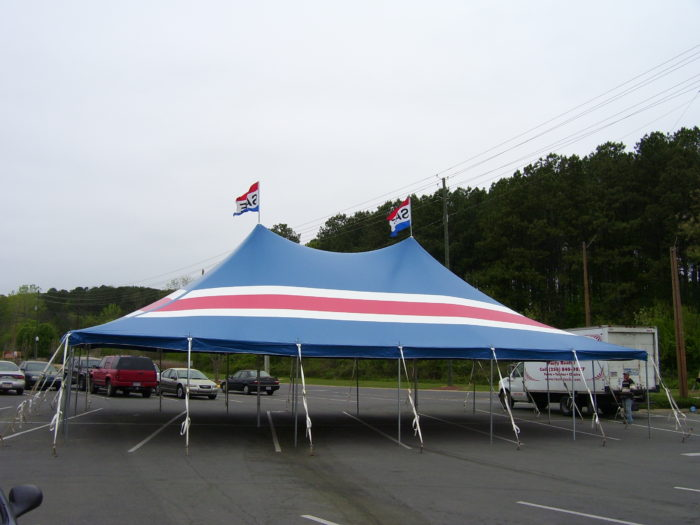 30x45 Red/White/Blue Striped Pole Tent