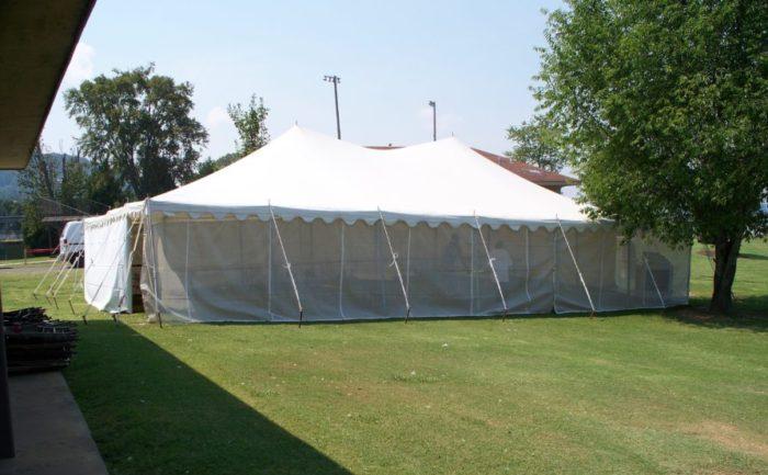 30x45 White Pole Tent W/ Mesh Sidewalls