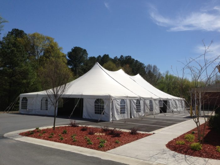 30x60 White Pole Tent W/ Cathedral Sidwalls