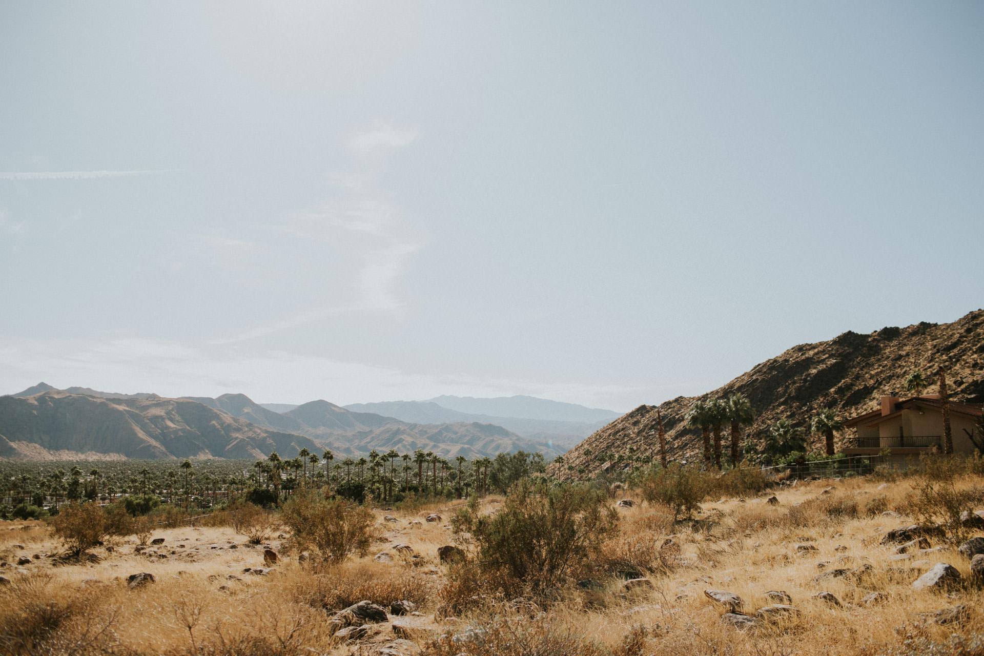 view of desert and mountains in palm springs