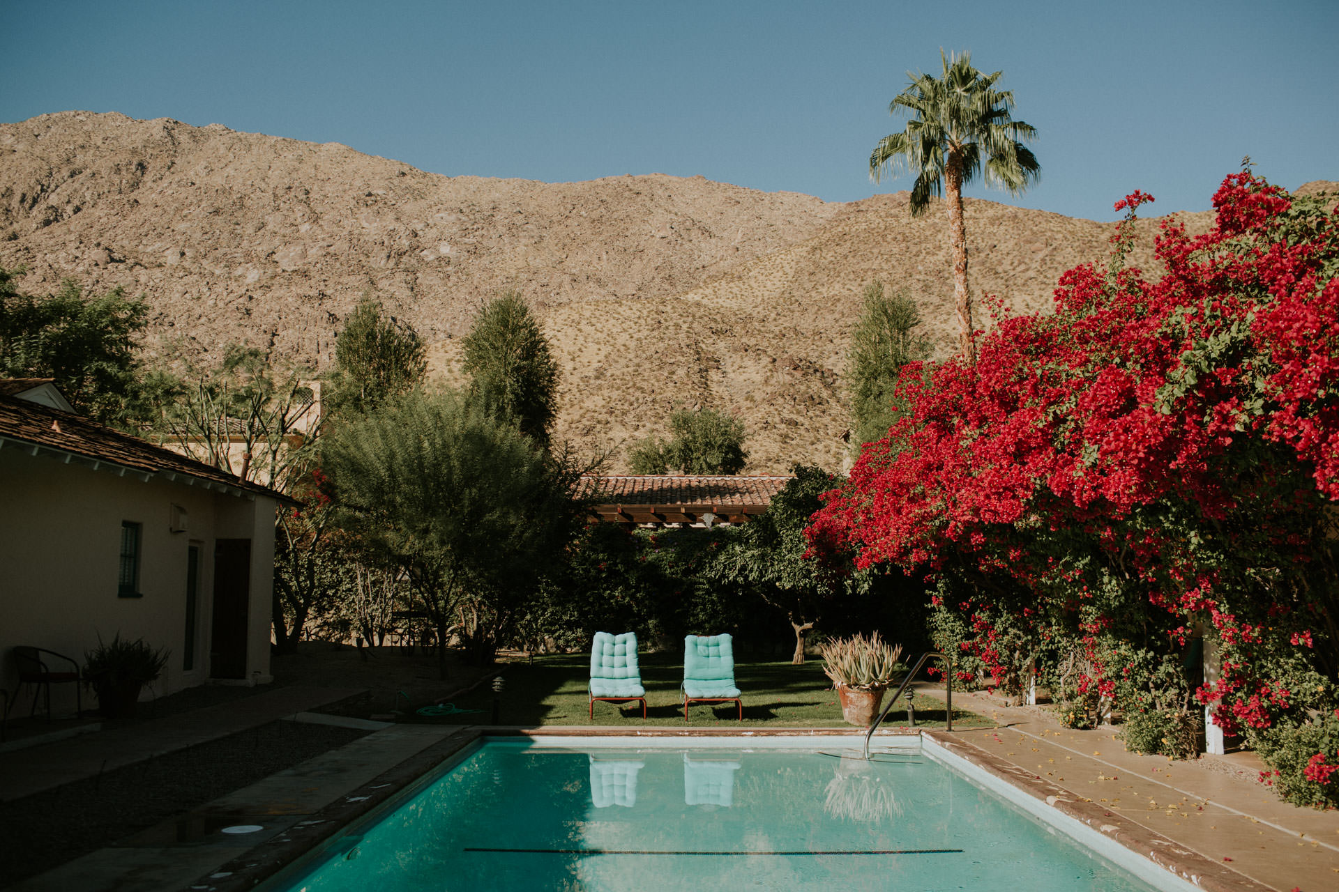 pool with two chairs at casa cody inn in palm springs