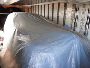 Exterior of Car in Enclosed Auto Transport Trailer