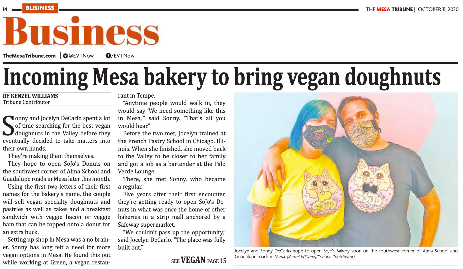 SoJo's Featured in The Mesa Tribune!