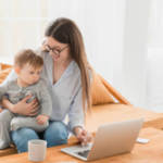 mom working with child