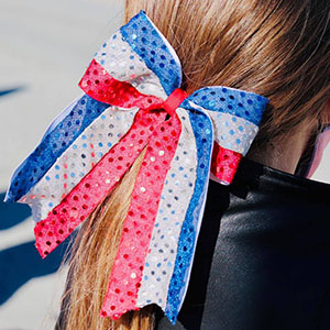 red white blue bow