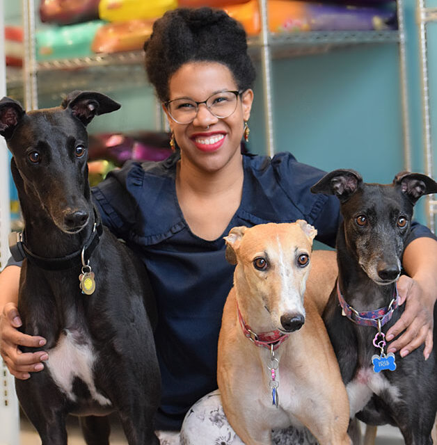work with dogs team member with three greyhounds