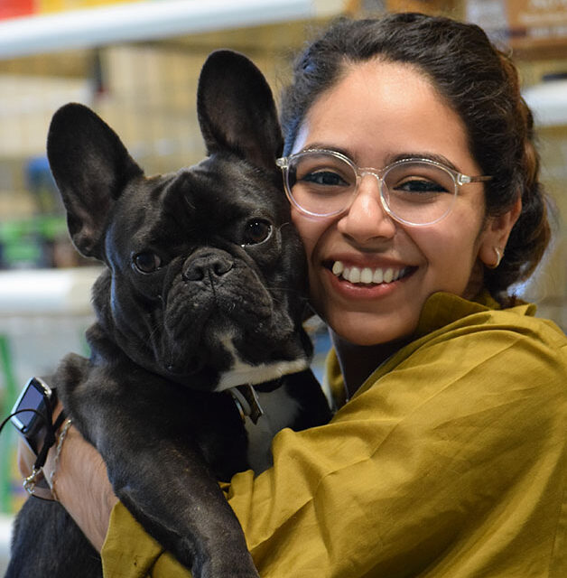 work with dogs team member with frenchie french bulldog dog