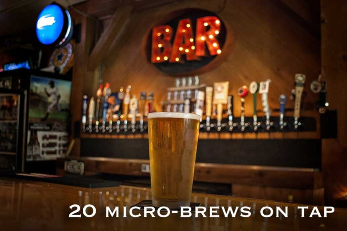 20 Micro-brews on tap