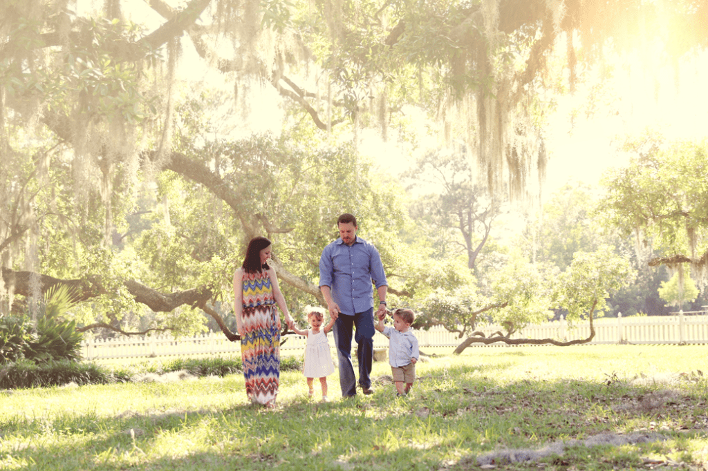 Family photo session at Fairview State Park in Madisonville, LA