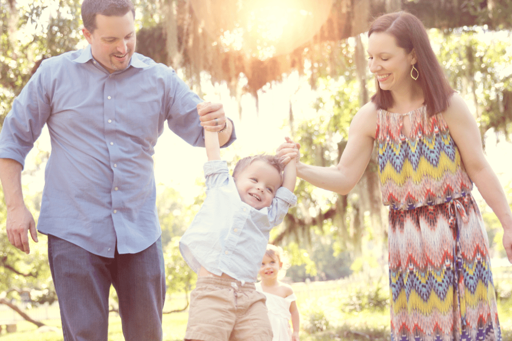 2 year old boy and parents at Fairview State Park in Madisonville, LA