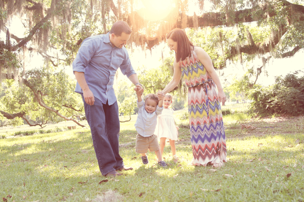 Family of four at Fairview State Park in Madisonville, LA