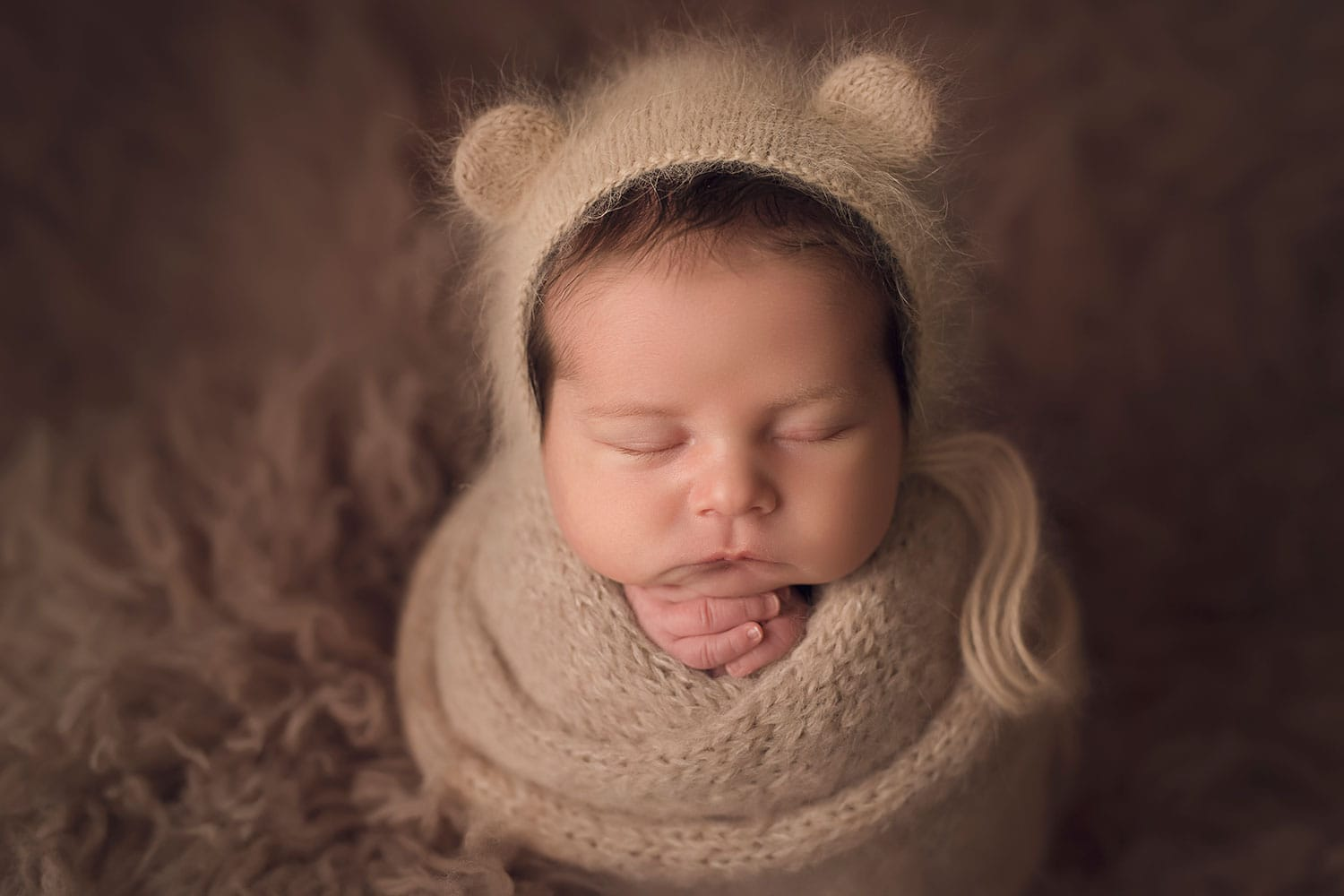 baby boy in bear bonnet by Annie Whitaker Photography