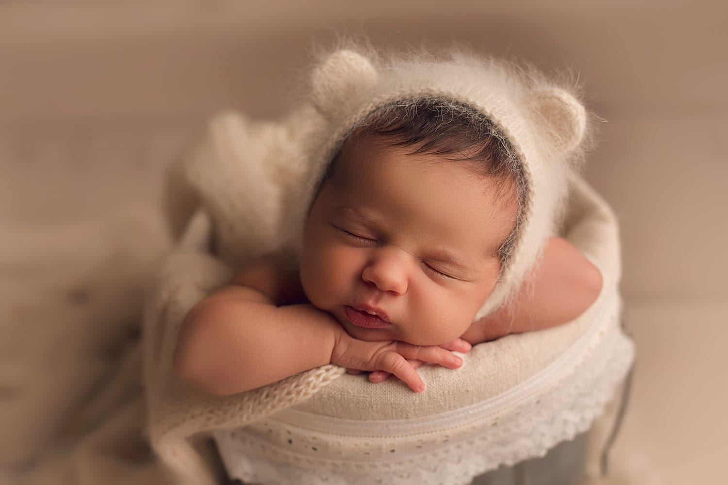 Baby in bear bonnet by annie Whitaker Photography