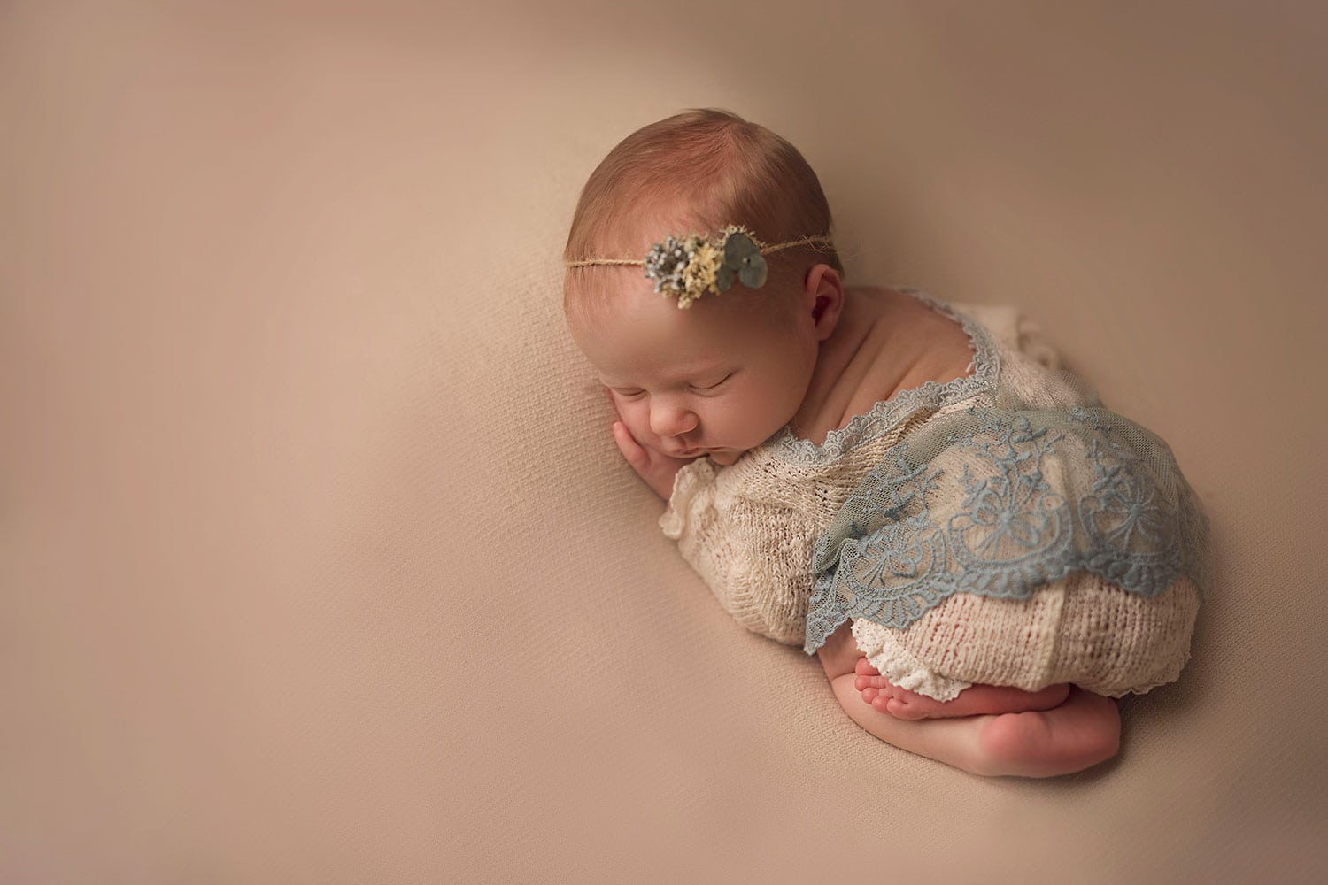 baby girl in blue by Annie Whitaker Photography