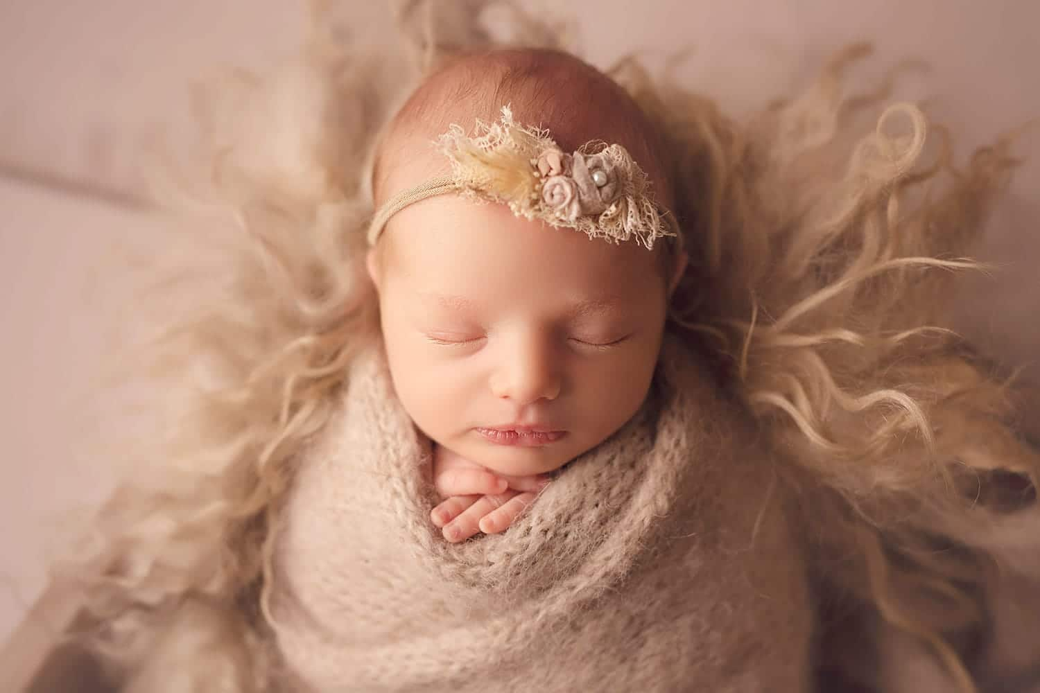 baby girl with tan headband by Annie Whitaker Photography