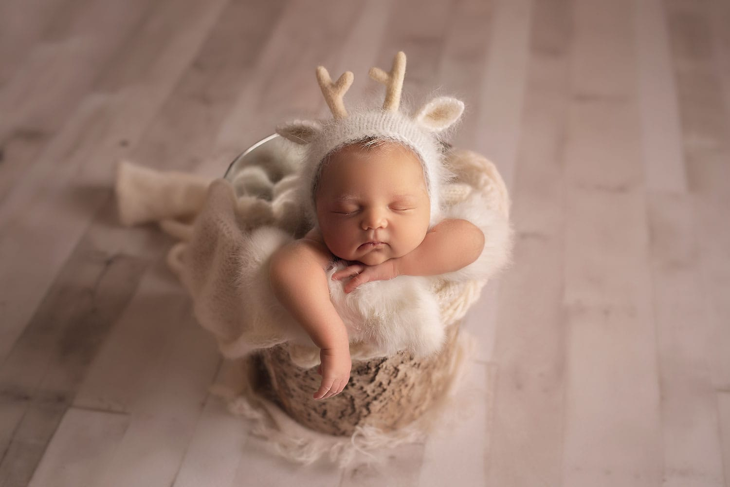 newborn Christmas set up by Annie Whitaker Photography