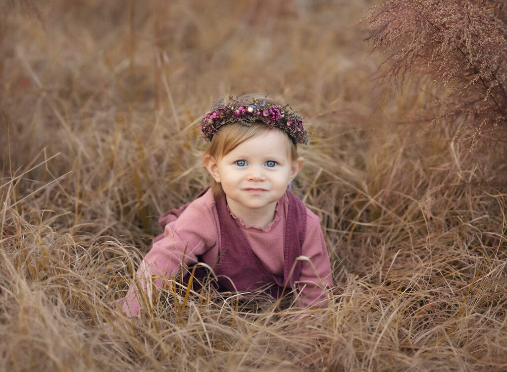 precious one year old girl in flower crown
