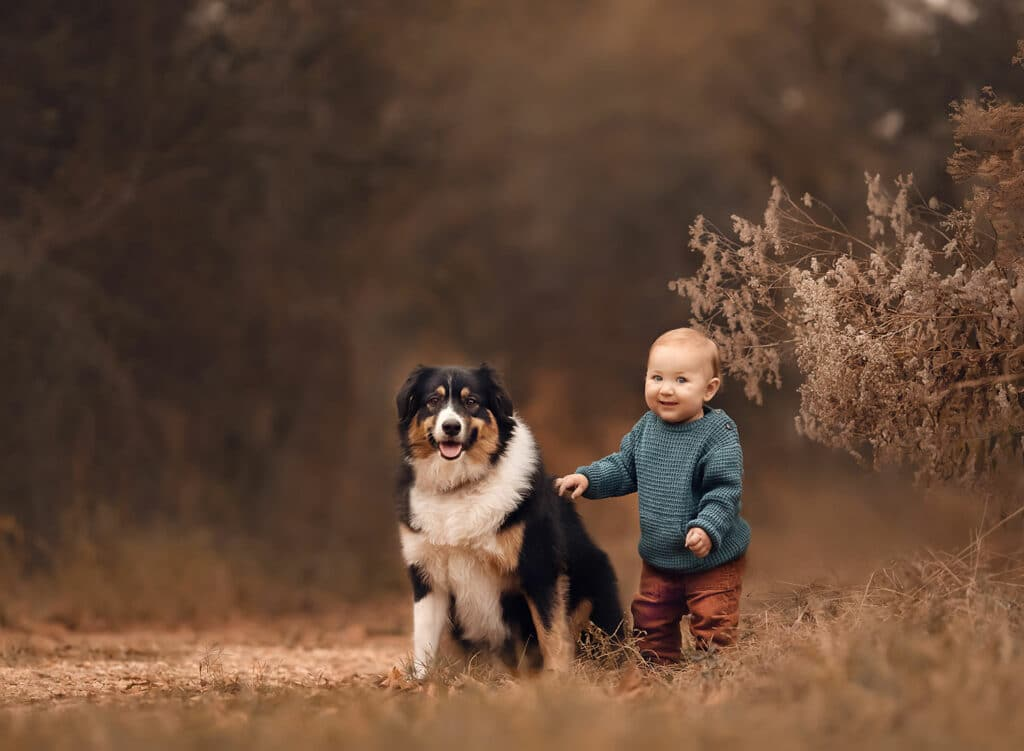 stunning photo of toddler with dog