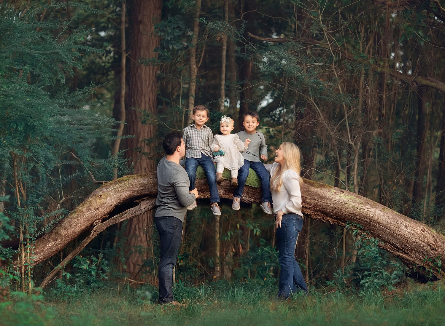 Family of five with children sitting on oak tree branch