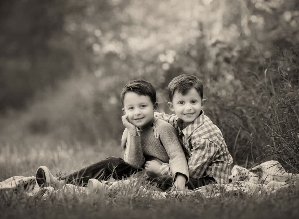 black and white photo of two brothers