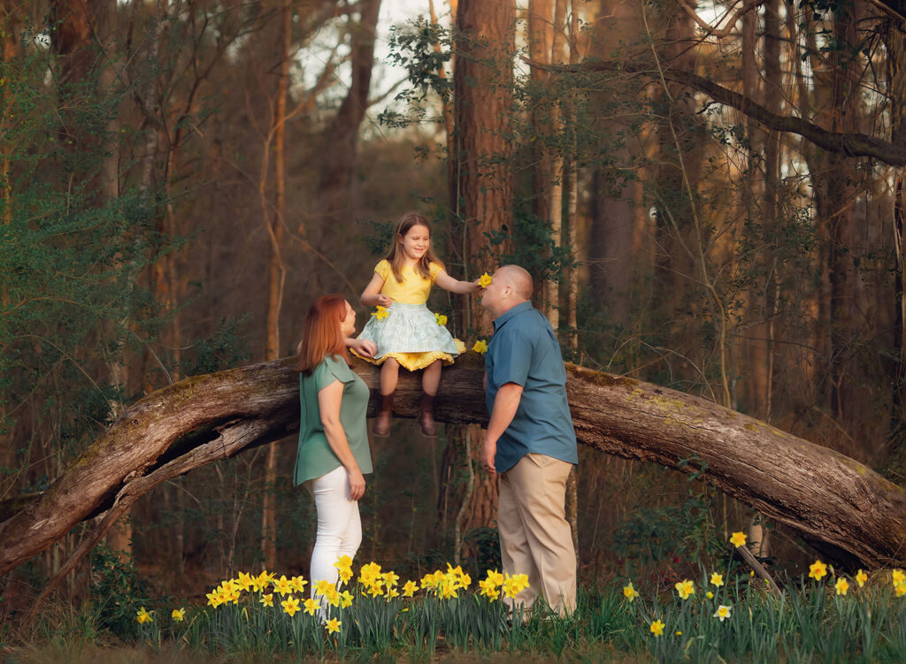 family photo in daffodils