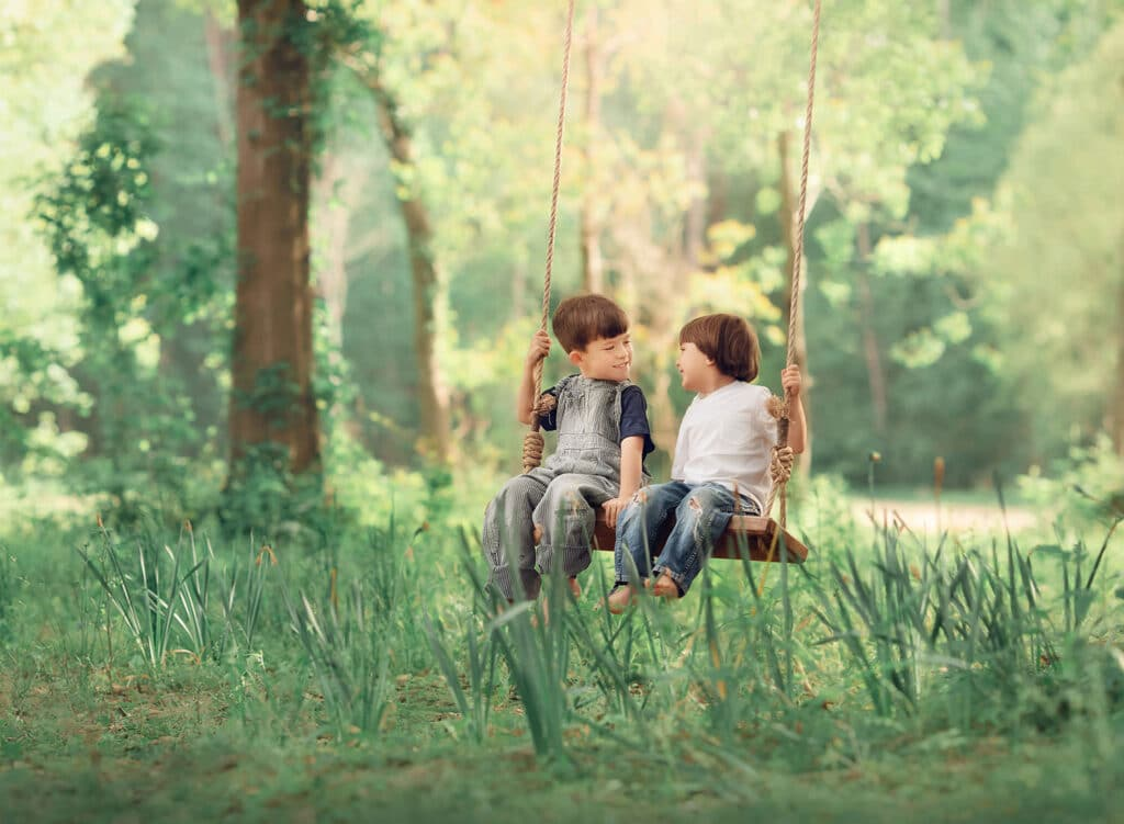 two brothers on tree swing