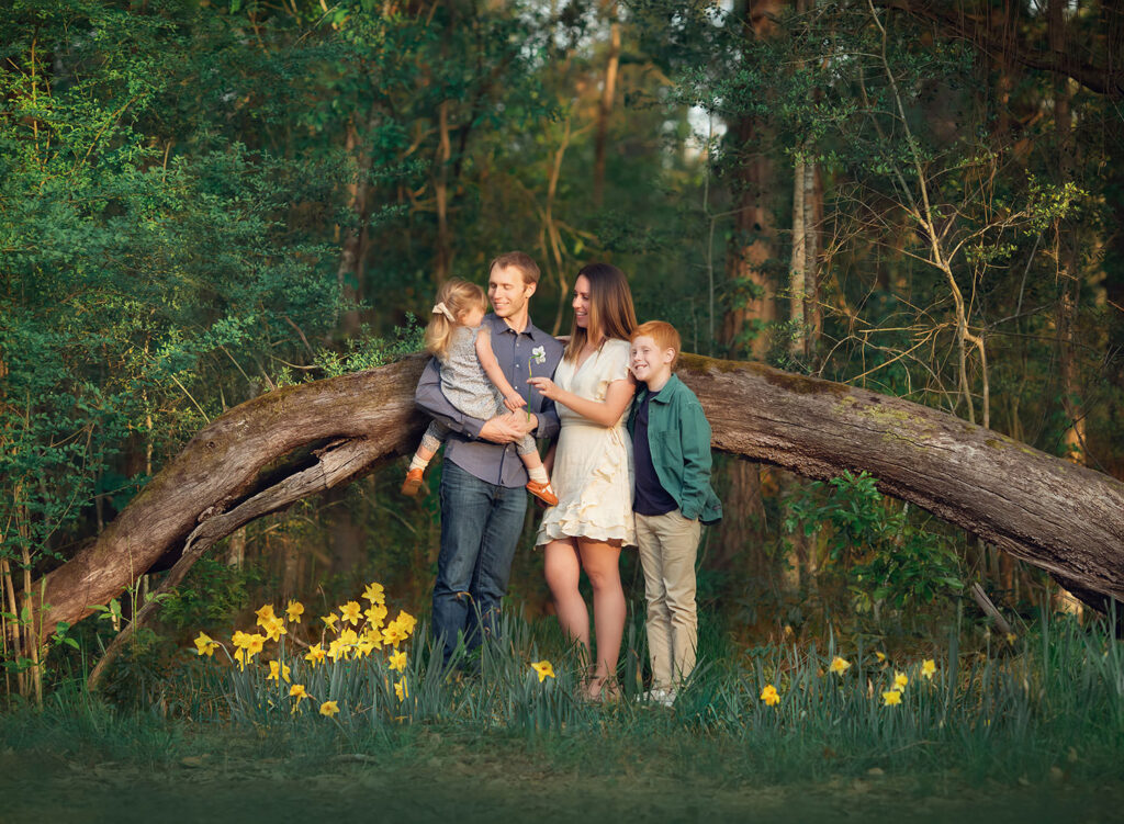 family of four in tulips
