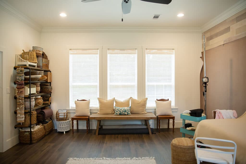 sitting area for parents in newborn photography studio