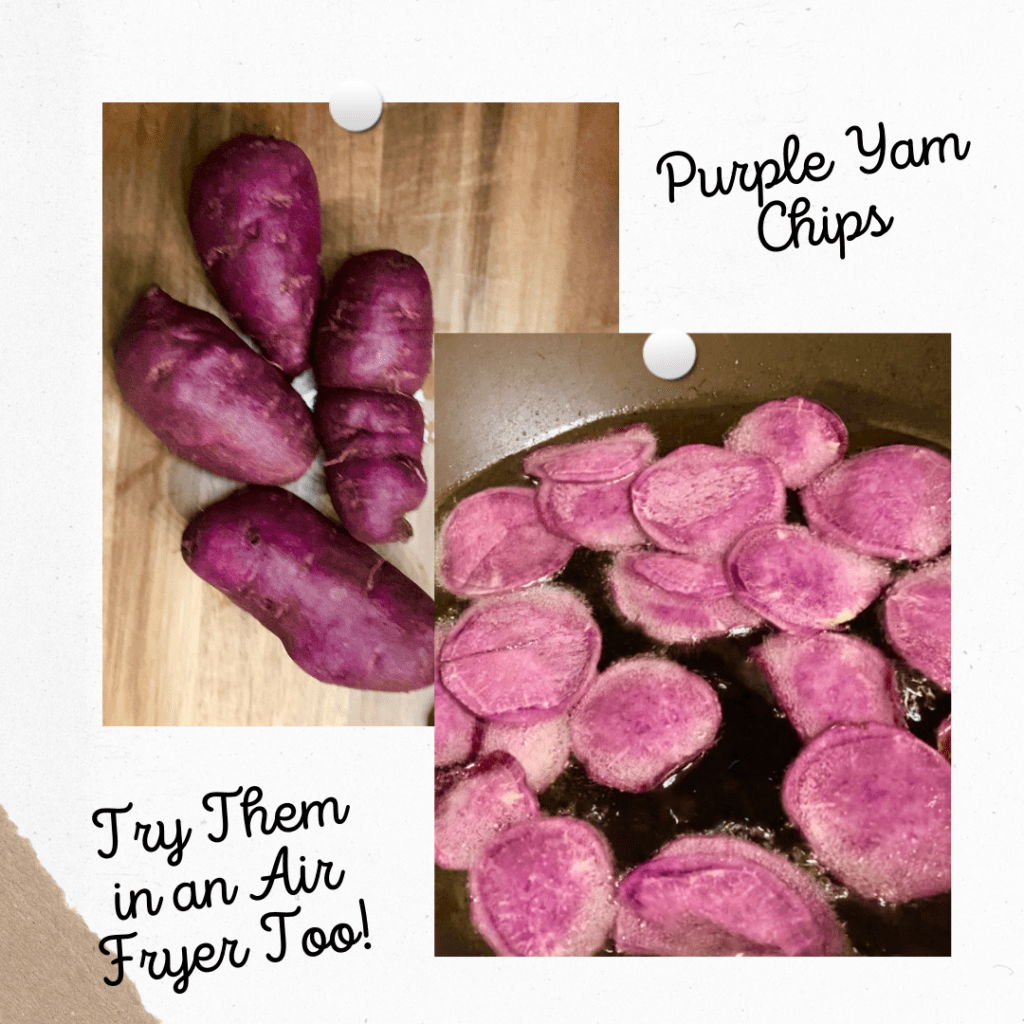 Purple Yams and Purple Yam Chips in Oil