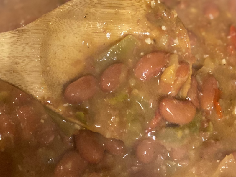 Red Beans in Skillet with peppers, onions and seasonings.
