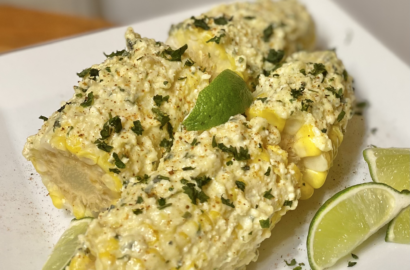 Mexican street corn on a plate