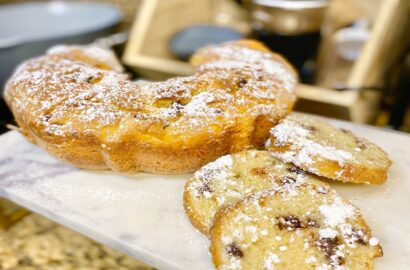 Slices of Italian Breakfast Cake with Powdered Sugar
