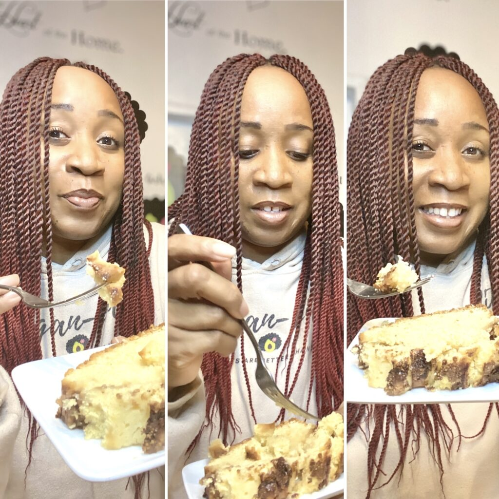 Woman holding a slice of apple cinammon loaf cake