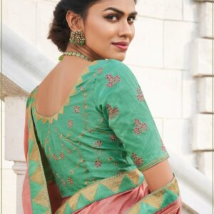 Pastel Pink Cotton Linen Saree With Minty Green Blouse
