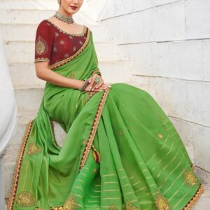 Sap Green Cotton Linen Saree With Wine Red Blouse