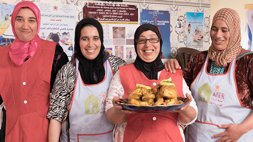 TheMorocco Community Lunch initiative assists the long-term development of job training, health and education programs for over 700 rural women and children.